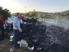 Alaplı'da geri dönüşüm deposunda korkutan yangın