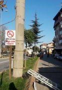 Belediyeden yasak alanlara uyarı tabelası